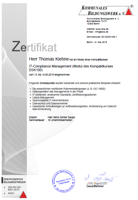 Zertifikat IT-Compliance Management